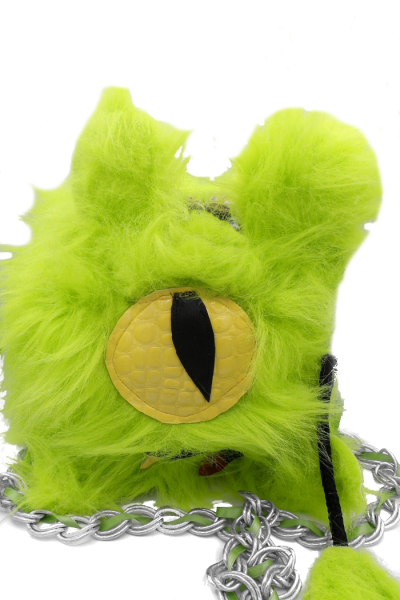 Lime green furry monster bag with single eye