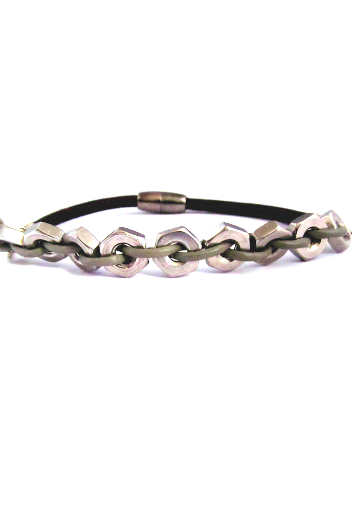 symbol of commitment, bolts are woven with leather to form a bracelet