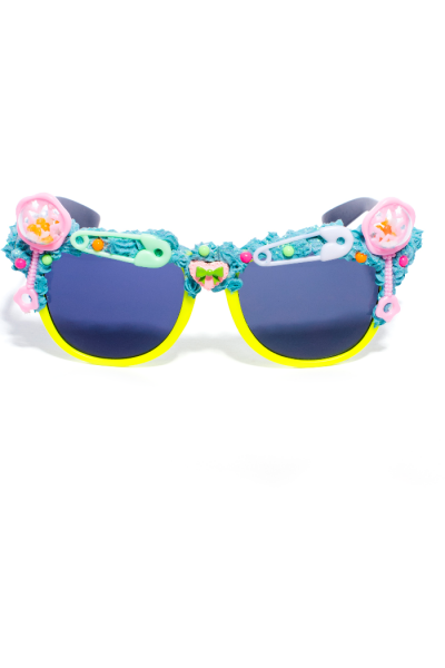 Yellow frame sunglasses with rattle and safety pins