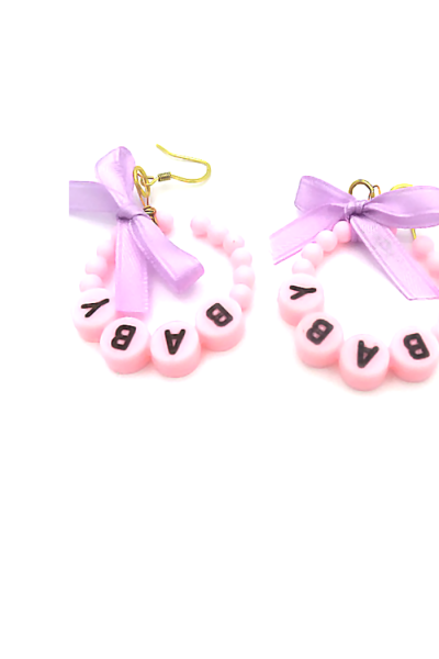 Little culture earrings with word 'baby'