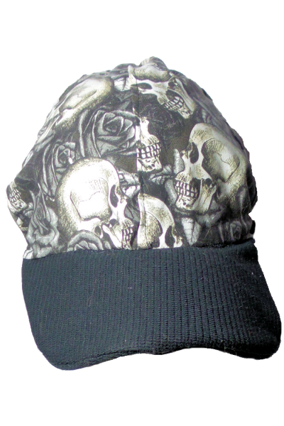 roses and skulls in black and white baseball cap