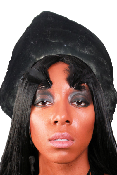 fitted black vegan fur beanie