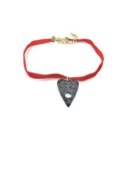planchette on red velvet cord necklace
