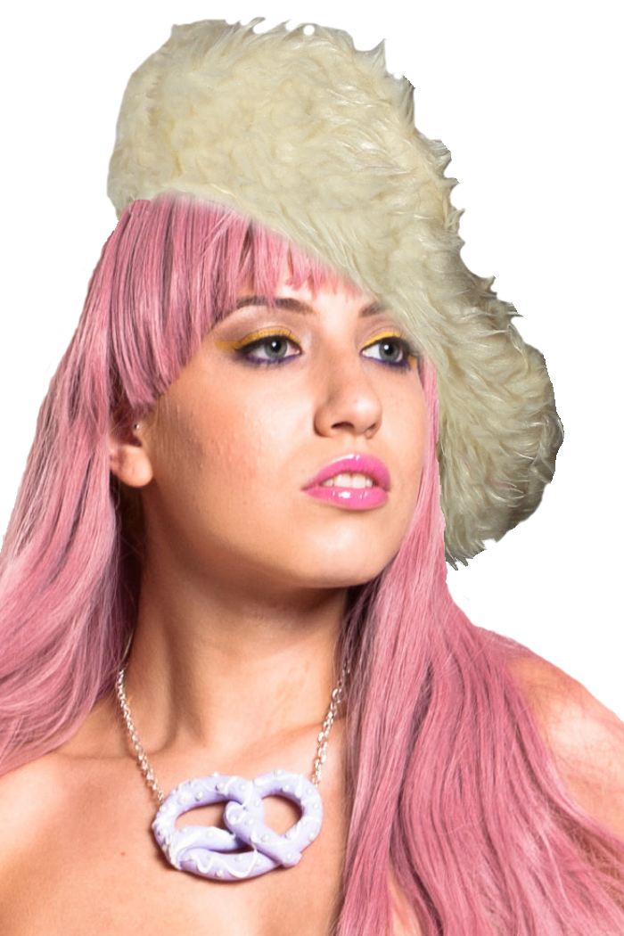 polar bear vegan fur beret