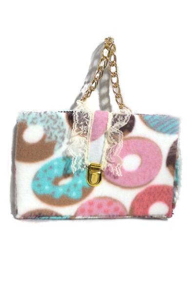 Box clutch with donut fabric