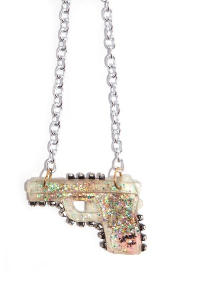 Acrylic gun pendant on aluminum chain