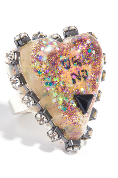 Hell no heart acrylic studded ring