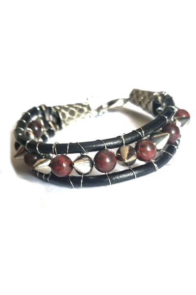 Jasper and cone studs between leather cord
