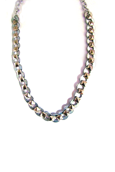 pyramid spike fabricated chain necklace