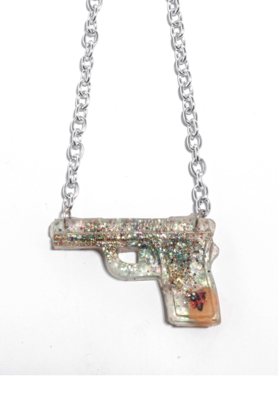 love wins with this acrylic gun pendant on silver colored chain