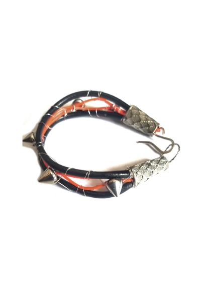 Orange and leather studded men bracelet