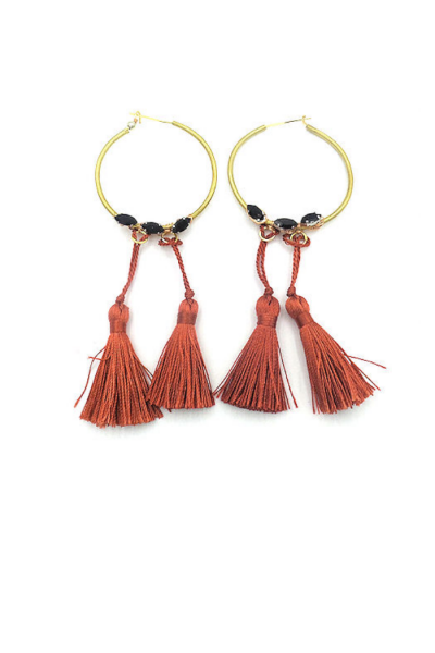 double tassel earrings with crystal accents