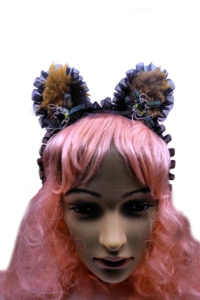 Front view of fuzzy bear ears headband