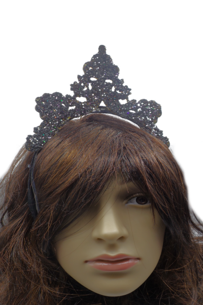 Three point crown glittered 3d printed headpiece