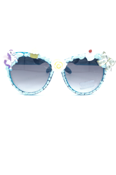 Bow and unicorn stickers adorn frosted sunglasses