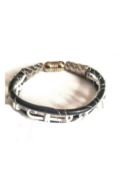 Double loop chain between leather cord men bracelet