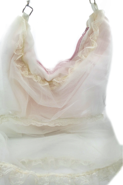 white tulle hobo bag looks like a night gown