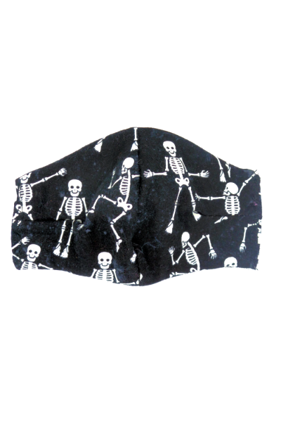 Flannel face mask - dancing skeletons print