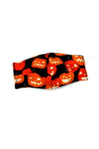 Halloween themed face mask - jack o lanterns print, glows in dark