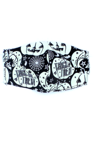 Flannel face mask with Jack-O-Lanterns print that glows in dark.