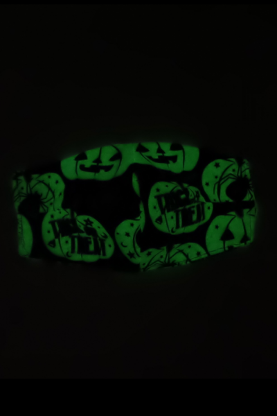 Flannel face mask for colder months, glows in dark