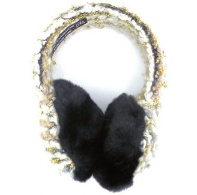 gold, gray and black knit earmuffs