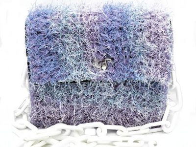 Fuzzy Rainbow Pastel Hand crocheted furry rainbow bag in blue and purple.